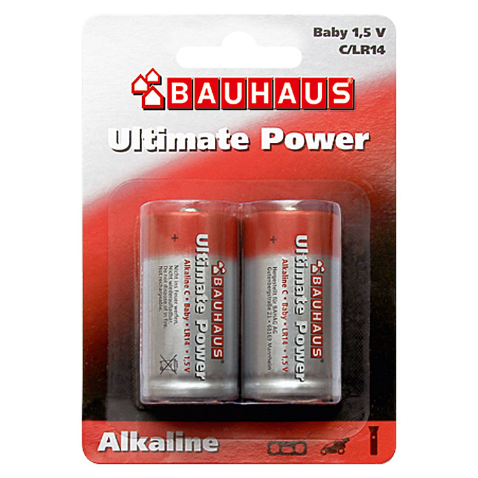 BAUHAUS Alkaline-Batterie Ultimate Power (Baby C, 2 Stk.)