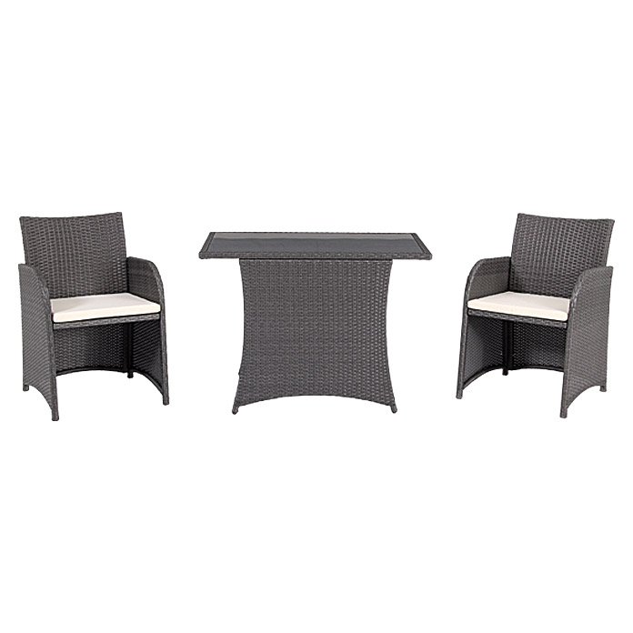 sunfun balkonm bel set olivia 3 tlg polyrattan silbergrau bauhaus. Black Bedroom Furniture Sets. Home Design Ideas