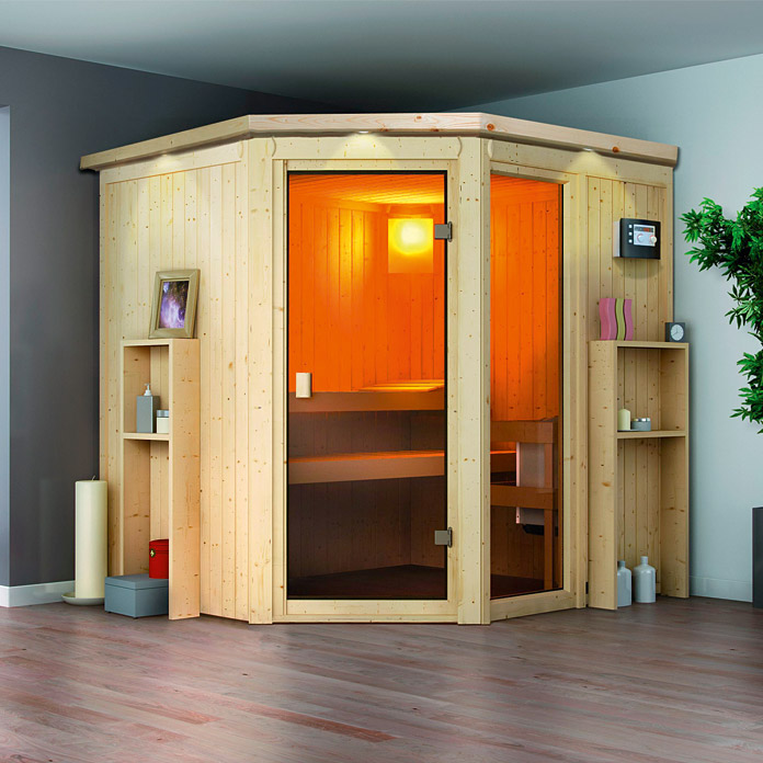 karibu elementsauna ora 1 mit 9 kw saunaofen mit. Black Bedroom Furniture Sets. Home Design Ideas