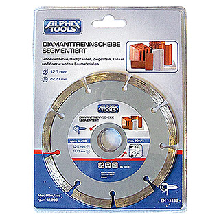 Alpha Tools Diamantdoorslijpschijf (Beton, Schijfdiameter: 125 mm, Boorgat: 22,23 mm)