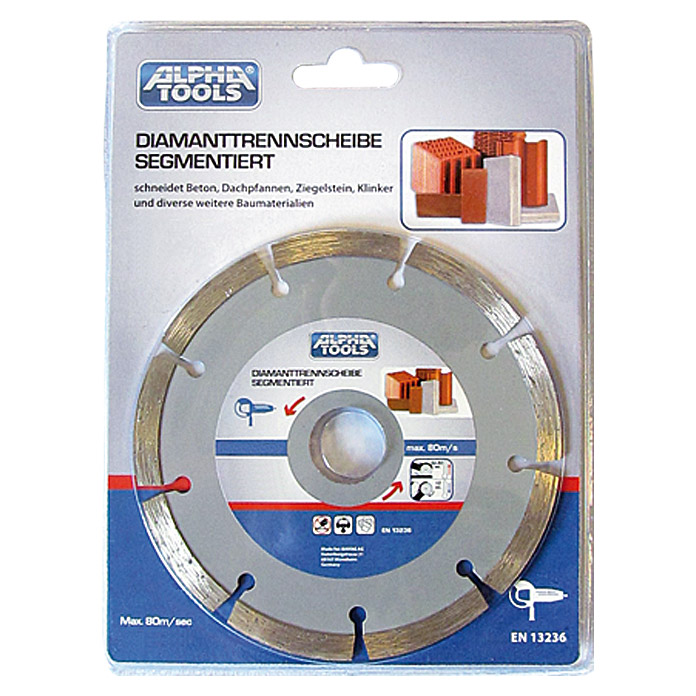 Alpha Tools Disco de corte de diamante (Hormigón, Diámetro disco: 115 mm, Orificio: 22,23 mm)