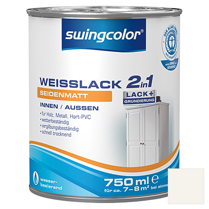 swingcolor 2in1 Weißlack (Weiß, 750 ml, Seidenmatt) | 5963 - Acryl ...