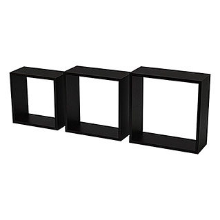 Duraline Set de estantes de pared 3TC (Negro, Carga soportada: 5 kg, Cuadrado con bordes rectangulares)