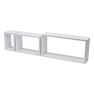 Duraline Set de estantes de pared 3TC (Blanco, Carga soportada: 5 kg, Rectangular con bordes rectangulares)