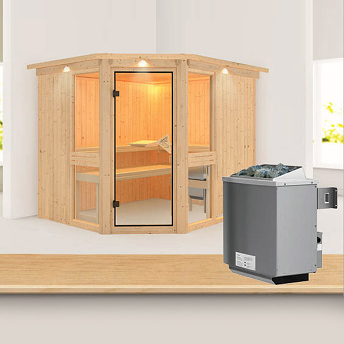 karibu systemsauna amelia 3 mit 9 kw saunaofen mit integrierter steuerung mit dachkranz und. Black Bedroom Furniture Sets. Home Design Ideas