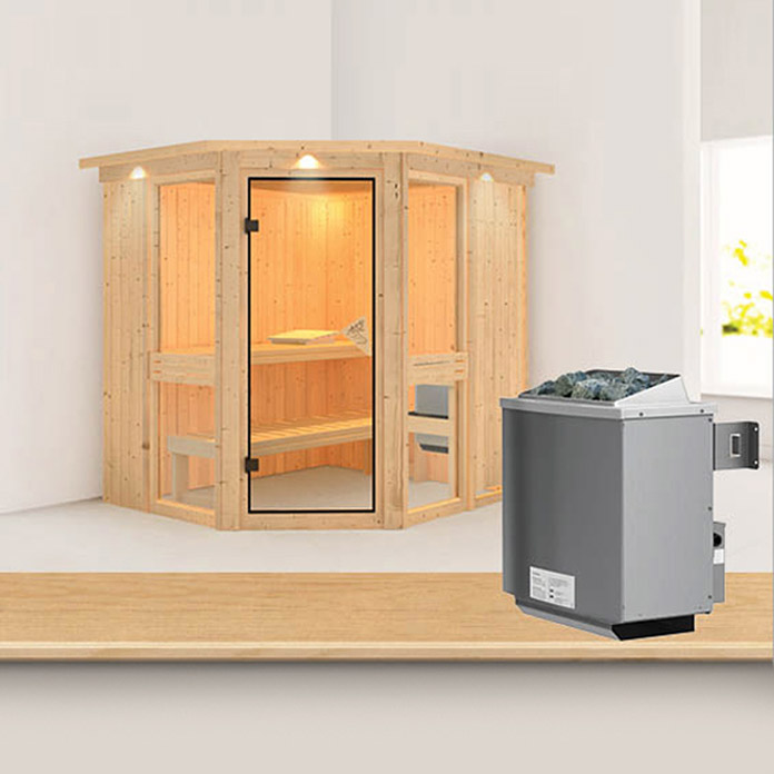 karibu systemsauna amelia 1 mit 9 kw saunaofen mit. Black Bedroom Furniture Sets. Home Design Ideas