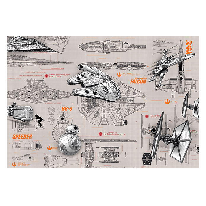 komar star wars fototapete blueprints 8 tlg 368 x 254 cm 6180 fototapeten hbdg. Black Bedroom Furniture Sets. Home Design Ideas
