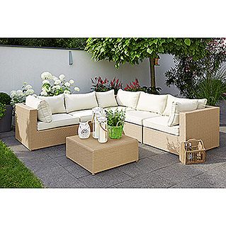Sunfun Elements Selina Loungemöbel-Set (6-tlg., PE-Geflecht, Beige)