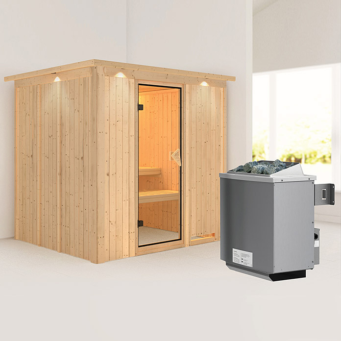 karibu systemsauna sodin mit 9 kw saunaofen mit integrierter steuerung mit dachkranz und. Black Bedroom Furniture Sets. Home Design Ideas