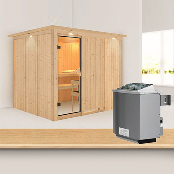 karibu systemsauna gobin mit 9 kw saunaofen mit integrierter steuerung mit dachkranz und. Black Bedroom Furniture Sets. Home Design Ideas