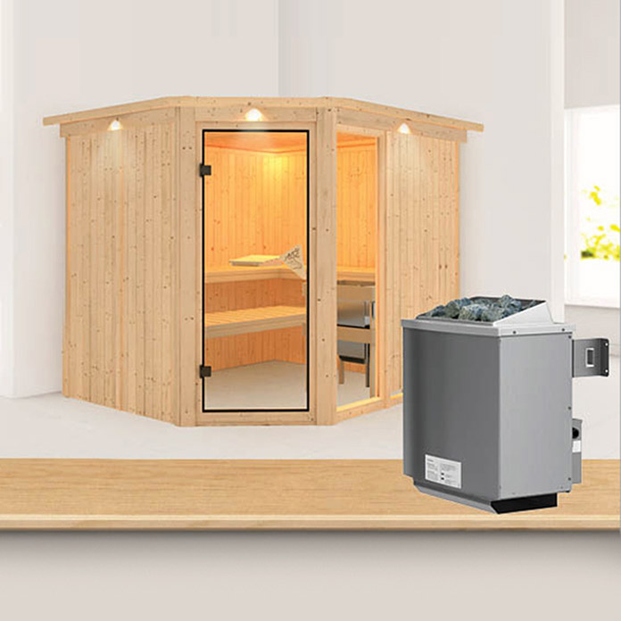 karibu systemsauna fiona 3 mit 9 kw saunaofen mit integrierter steuerung 196 x 231 x 198 cm. Black Bedroom Furniture Sets. Home Design Ideas