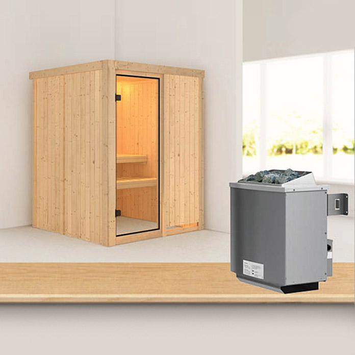 karibu systemsauna norin mit 9 kw saunaofen mit. Black Bedroom Furniture Sets. Home Design Ideas