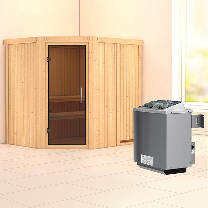 karibu systemsauna siirin mit 9 kw saunaofen mit integrierter steuerung ohne dachkranz 170 x. Black Bedroom Furniture Sets. Home Design Ideas