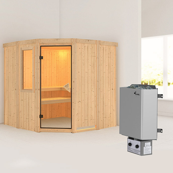 karibu systemsauna simara 1 mit 9 kw saunaofen mit. Black Bedroom Furniture Sets. Home Design Ideas
