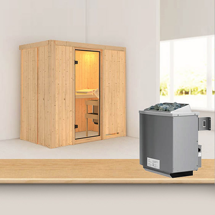 karibu systemsauna variado mit 9 kw saunaofen mit integrierter steuerung ohne dachkranz 118 x. Black Bedroom Furniture Sets. Home Design Ideas