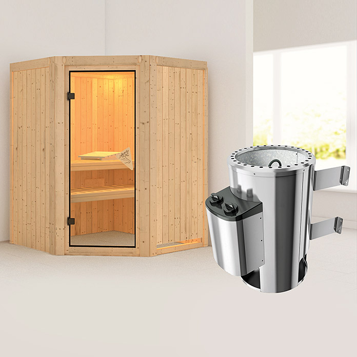 karibu 230 v systemsauna nanja mit 3 6 kw saunaofen mit. Black Bedroom Furniture Sets. Home Design Ideas