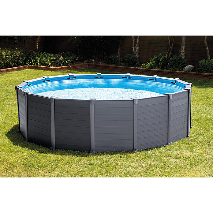 Steinbach frame pool set graphite durchmesser 478 cm for Bauhaus poolset