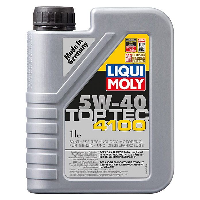 liqui moly motor l top tec 4100 5w 40 c3 1 l 2740 motorenoele marke bdda motorenoele. Black Bedroom Furniture Sets. Home Design Ideas