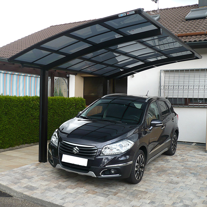 ximax carport portoforte 60 4 9 x 2 7 m einfahrtsh he max 2 2 m mattbraun schneelast 75. Black Bedroom Furniture Sets. Home Design Ideas
