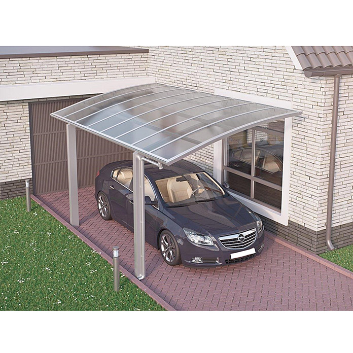 ximax carport portoforte 60 4 9 x 2 7 m einfahrtsh he max 2 2 m edelstahloptik schneelast. Black Bedroom Furniture Sets. Home Design Ideas