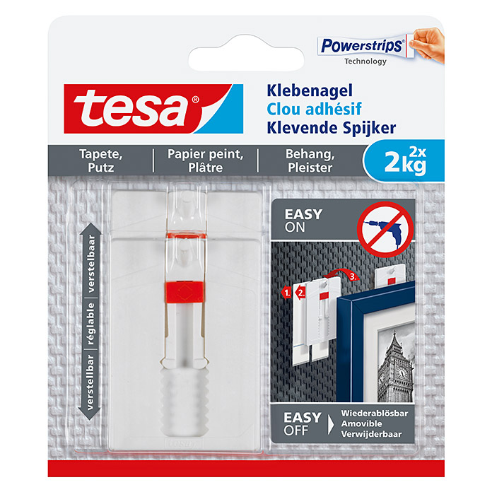 Tesa Verstellbarer Klebenagel  (Belastbarkeit: 2 kg)