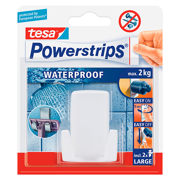 TESA POWERSTRIPS WATERPROOF RASIERHALTER WAVE WEIß