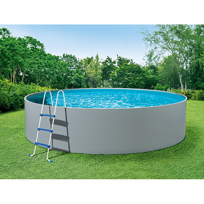 Mypool pool komplettset splash grau durchmesser 360 cm for Garten pool komplett