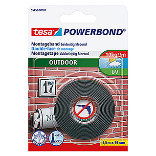 tesa Powerbond Montagetape Outdoor (l x b: 1,5 m x 19 mm, Waterbestendig)