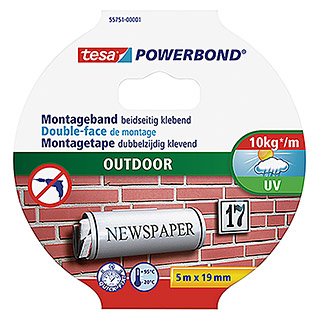 Tesa Powerbond Montageband Outdoor (5 m x 19 mm)