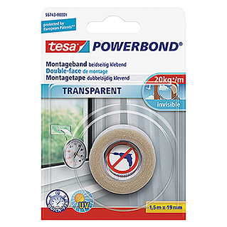 Tesa Powerbond Montageband Transparent (1,5 m x 19 mm)