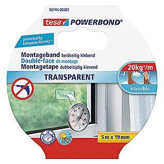Tesa Powerbond Montageband Transparent (5 m x 19 mm)