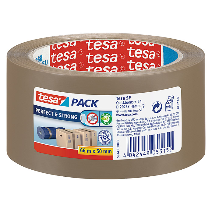 Tesa Pack Paketklebeband Perfect & Strong (Braun, 66 m x 50 mm)