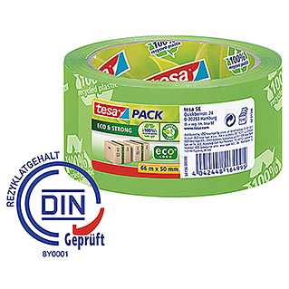 Tesa Pack Paketklebeband Eco & Strong (Grün, 66 m x 50 mm)