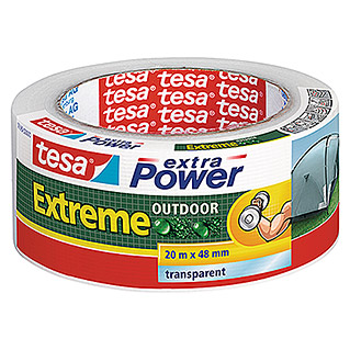 Tesa extra Power Folienband Extreme Outdoor (20 m x 48 mm, Transparent, Selbstklebend)