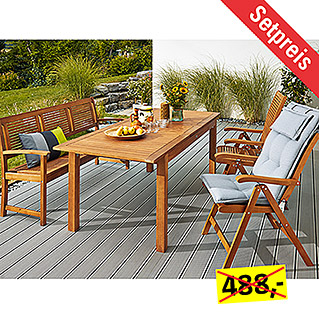 Sunfun Elements Diana Dining-Set  (4-tlg., Ausziehtisch Diana, Positionssessel Diana, Bank Diana)