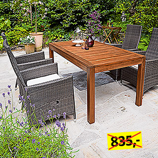 Sunfun Elements Diana Dining-Set  (5-tlg., Ausziehtisch Diana, Positionssessel Mia)