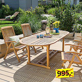 Sunfun Elements Elena Dining-Set  (Ausziehtisch Elena, Positionssessel Elena)
