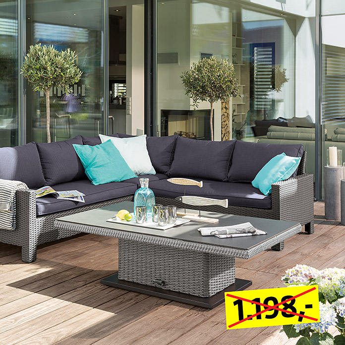 Sunfun Loft Neila Low-Dining-Set  (Lift Tisch Neila, Ecksofa-Set Neila)