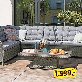 Sunfun Elements Amelie Low-Dining-Set  (2-tlg., Lift Tisch Amelie, Ecksofa Amelie)