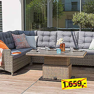 Sunfun Elements Amelie Low-Dining-Set  (2-tlg., Couchtisch Amelie, Ecksofa Amelie)