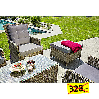 Sunfun Elements Amelie Loungemöbel-Set (2-tlg., Geflechtsessel Amelie, Hocker & Couchtisch Amelie)