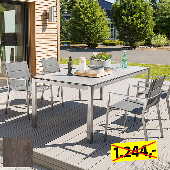 Sunfun Dining-Set , Tischplatte: Mountain Lodge (Tischgestell Edelstahl, Tischplatte Mountain Lodge, Stapelsessel Karolyn)