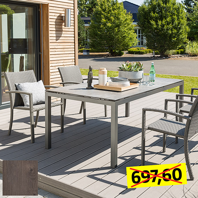 Sunfun Dining-Set , Tischplatte: Mountain Lodge (Tischgestell Aluminium, Tischplatte Mountain Lodge, Stapelsessel Neila)