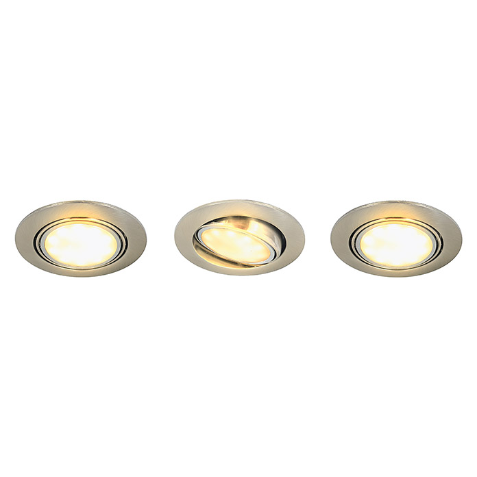 Tween Light LED-Einbauleuchten-Set (3 x 5 W, Nickel matt, Warmweiß, IP44)