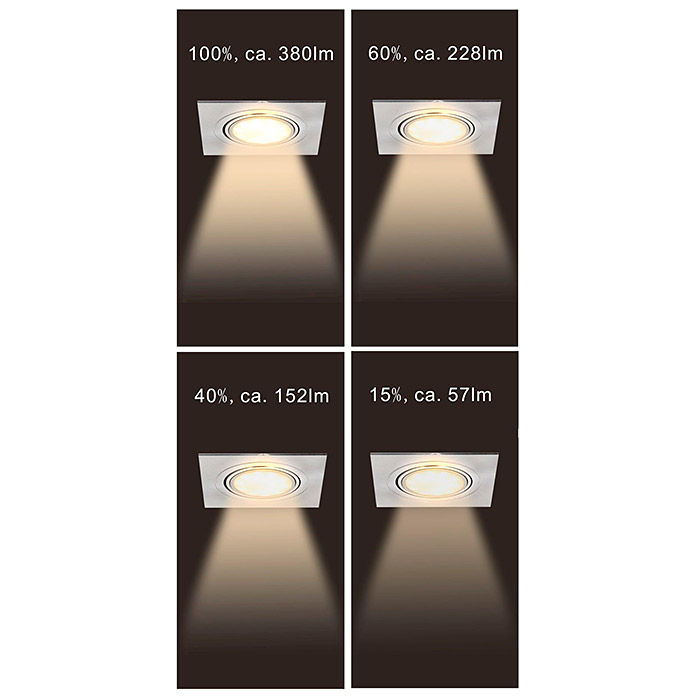 Tween Light LED-Einbauleuchten-Set (3 x 5 W, Eckig, Nickel matt, Warmweiß)