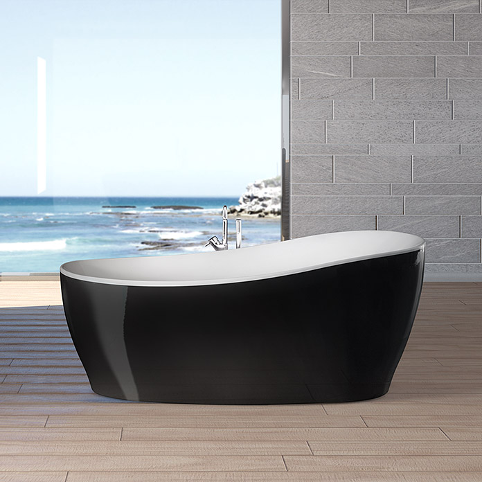 ottofond freistehende badewanne domani 180 x 85 cm acryl schwarz wei bauhaus. Black Bedroom Furniture Sets. Home Design Ideas