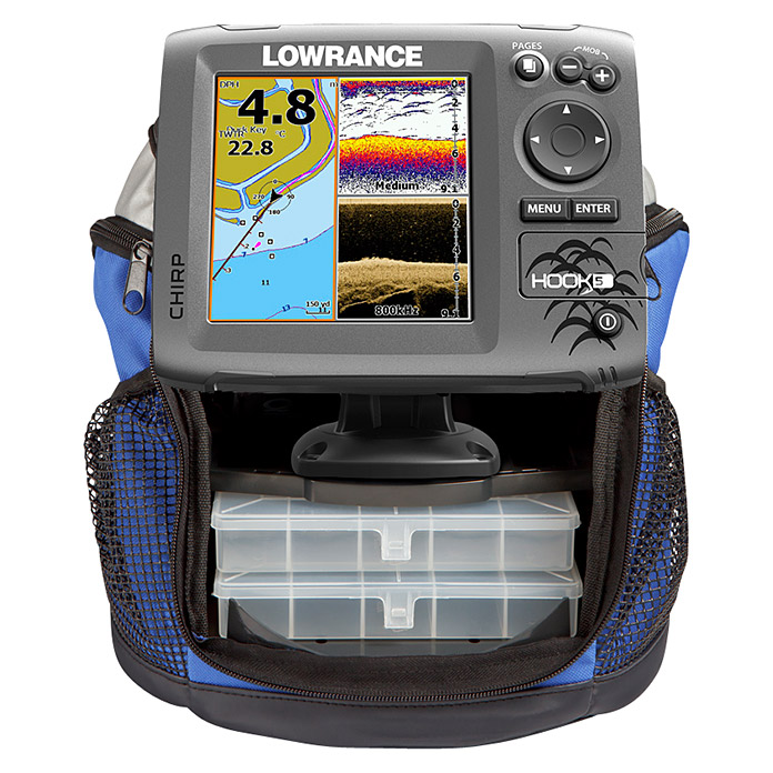 Lowrance Fishfinder & GPS-Kartenplotter Set Hook 5 CHIRP Ice-Machine  (Mid/High Ice Fishing Heckgeber)